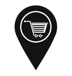 Geo tag with shopping cart symbol icon vector