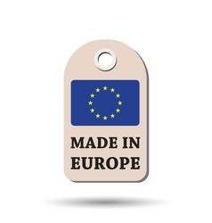 Hang tag made in europe with flag on white vector