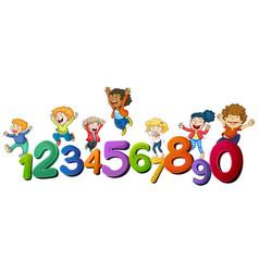 Happy children and numbers one to zero vector