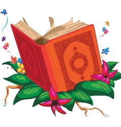 Holy Book on Leaves Surrounded with Flowers vector image