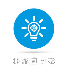 Light lamp sign icon bulb with gear symbol vector