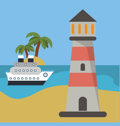 Lighthouse ship beach vacation vector