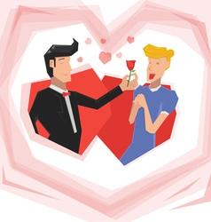 Man give rose woman vector image