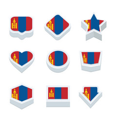 Mongolia flags icons and button set nine styles vector