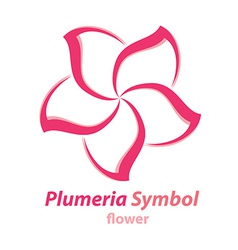 Plumeria frangipani flower symbol vector image vector image