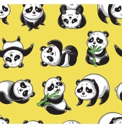 Seamless pattern with cartoon pandas vector