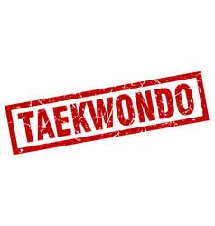 Square grunge red taekwondo stamp vector