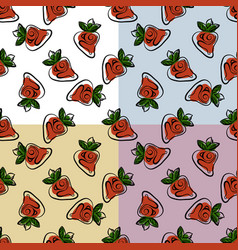 stylized bright fruits on monochromatic background vector image vector image