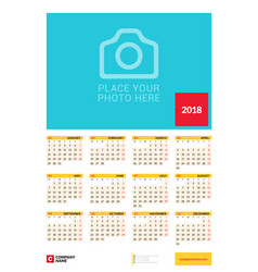 wall yearly calendar poster for 2018 year design vector image vector image