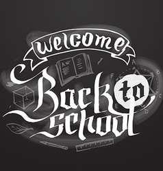 Welcome back to school background on black vector image