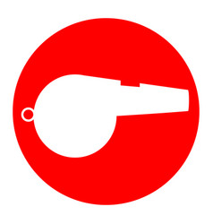 Whistle sign white icon in red circle on vector