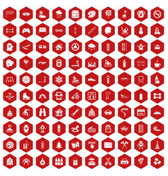 100 children activities icons hexagon red vector image