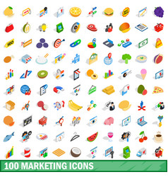 100 marketing icons set isometric 3d style vector