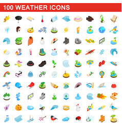 100 weather icons set isometric 3d style vector image vector image