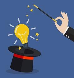 Business hand with lightbulb idea vector image