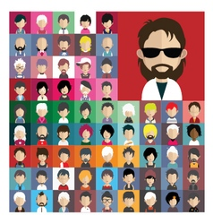 Set of people icons in flat style with faces 05 a vector