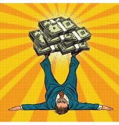 Businessman athlete holds a lot of money on legs vector