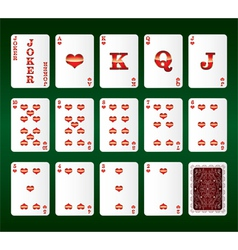 Playing cards set hearts vector
