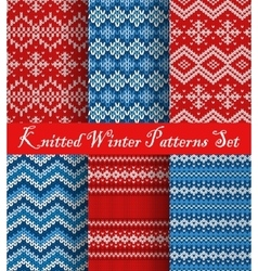 Knitted winter patterns set vector