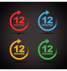 colour set 12 hours vector image