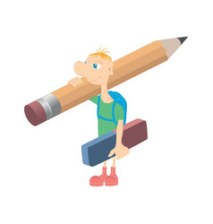 Humorous little man with a pencil vector