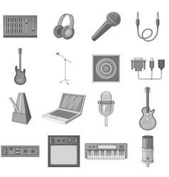 Recording studio icons set monochrome vector