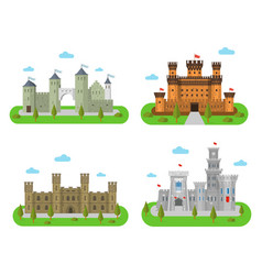 Medieval castles fortresses and bastions in a vector