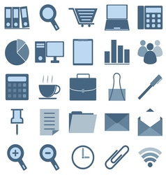 Blue office icons on white background vector