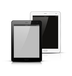 White and black tablet pc mockup vector