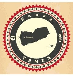 Vintage label-sticker cards of yemen vector