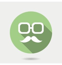 Hipster icon with long shadow hipster moustaches vector image