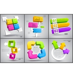 Set of colorful cubes with arrows 3d vector