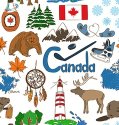 Sketch canada seamless pattern vector