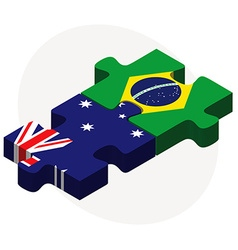 Australia and brazil flags in puzzle vector