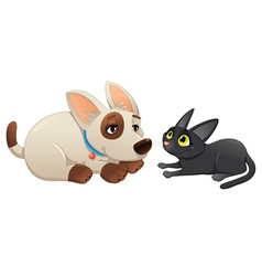 Lovely cat and dog vector