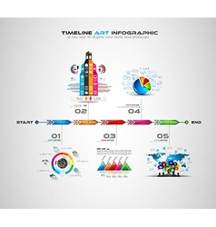 Timeline with infographics design elements for vector