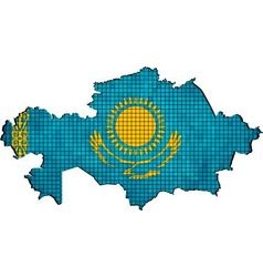 Kazakhstan map with flag inside vector