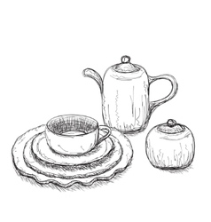 Tea time set with dishes vector