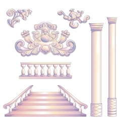 Set of column and stairway vector