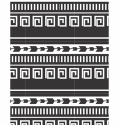 Tribal striped seamless patterns black and white vector