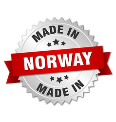 Made in norway silver badge with red ribbon vector