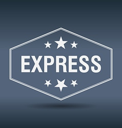 Express hexagonal white vintage retro style label vector
