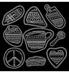 Happy chalk board stickers and embroidery patches vector