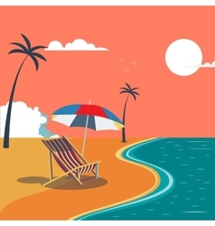 Summer tropical beach with palm trees and umbrella vector