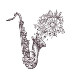Jazz music hand-drawn sketch a saxophone sax and vector