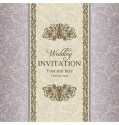 Baroque wedding invitation gold vector