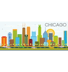Chicago Skyline with Color Buildings vector image