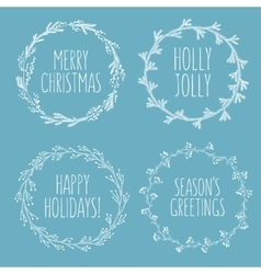 Christmas related hand drawn floral wreaths set vector image vector image