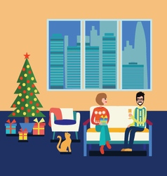 Couple at home sitting on sofa in the christmas vector image