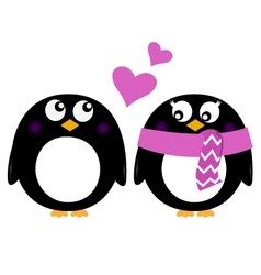 Cute Penguins in love isolated on white vector image vector image